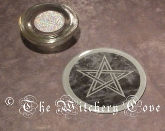 Pentagram / Pentacle Candle Plate and Glitter Tea Light in Glass Candle Holder (Design No.1)