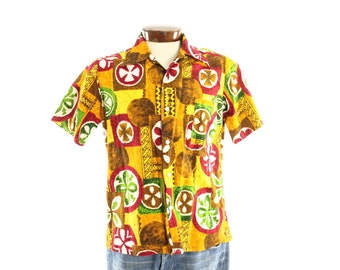 Vintage 60s Hawaiian Shirt Gold Bark Cloth Tiki Mens Short Sleeve Button Up Shirt 1960s Medium M CAL SURF