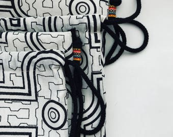 Adult Size | Drawstring Backpack Bag | Geometric Shipibo Textiles from Peru | Black and Ivory