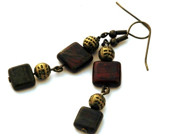 Czech Glass Tile Bead Earrings, Antique Brass Accents, Red,Tan and Green Earthy Colors, Casual Pierced Earrings, Earthtone Accessories