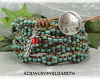 Seed Bead Leather Wrap Bracelet* Southwestern Leather Wrap Bracelet* Beaded Leather Wrap Bracelet* Boho Leather Wrap Bracelet*