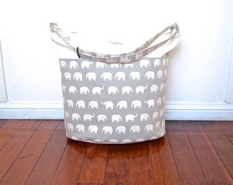 Extra-Large Diaper or Nappy Bag / Daycare Bag - Gray Elephants (Made to Order)