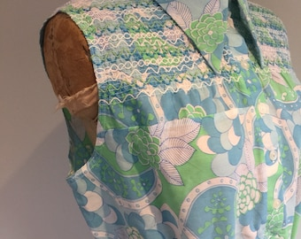 1960s Cotton Dress, Summer Style, Patterned, Blues and Greens, Sheering Elastic Detail