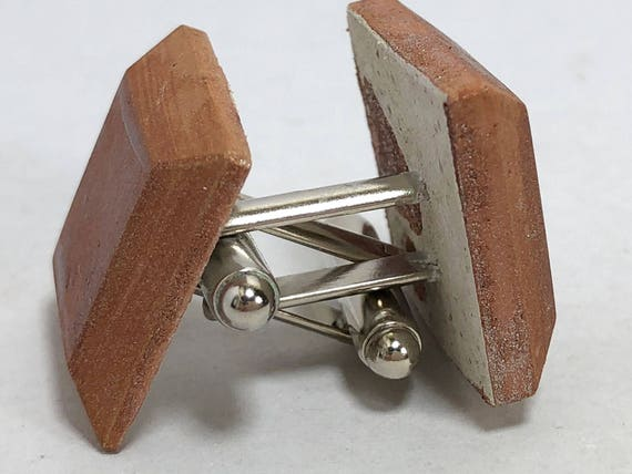 Concrete cufflinks Concrete jewelry with copper finish gift for men