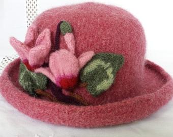 Hand Knit Wool & Mohair Felt Hat - Dusty Rose w/ Cyclamen