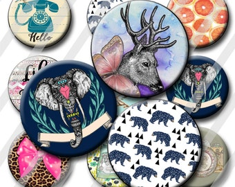 Trendy Bottle Cap Images 1 inch circle image sheet Digital Collage INSTANT DOWNLOAD Clipart Deer Camera Trendy