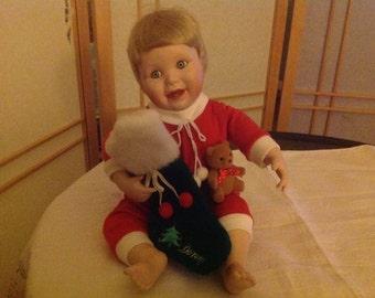 "The Danbury Mint Porcelain Christmas Doll ""Danny"""