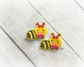 Bee hair clip Bumble Bee Hair Clip Bee Mine Hair clippie cutie  Pick one or two. Pick Left side or Right.