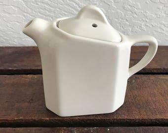 Vintage Hall Slant white Teapot with lid 189; Single Serve Teapot; Creamer; Farmhouse Decor
