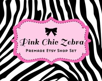 Etsy shop banner - Pink Chic Zebra Etsy Premade Banner set