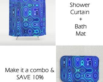 Blue Fabric Shower Curtain-Matching Shower Curtain & Bath Mat-71x74-Modern Bathroom Decor-Abstract Shower Curtain-Royal Blue-Teal-Turquoise