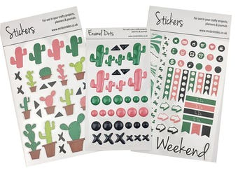 Curious Cactus Sticker Bundle Set