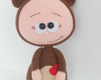 Doll With Bear Costume Stuffed Toy