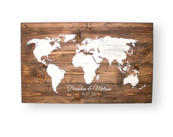 World Map- Wedding Guest Book- Wedding Guest Book Alternatives- Personalized Sign- Wood Wall Art- Gifts with Personalization- Travel