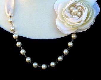 Bridal necklace statement necklace wedding necklace cream flower necklace pearl necklace bow necklace beaded-Eternal Elegance Necklace