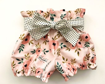 High Waist Bloomers Pink Floral Watercolor Ruffle Bloomer Shorts Bubble Summer Shorts Newborn / Baby / Toddler