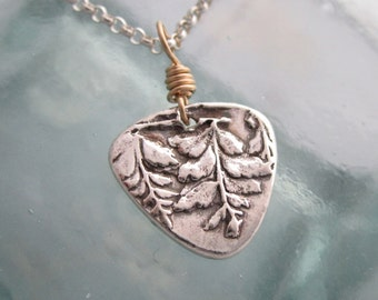 Handcrafted Natural Fern Necklace in Silver and Gold with Turquoise
