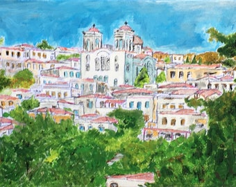 Acrylic painting of the Greek Island of Oinousses