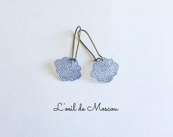 Stud Earrings, cloud blue dotted