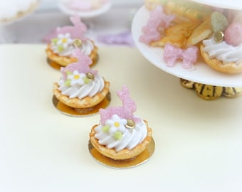 Pink Rabbit Cream Tartlet for Easter - 12th Scale Miniature Food