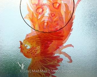 Phoenix Suncatcher, 3D iridescent Firebird suncatcher with clear suction cup fitting