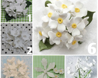 Gumpaste Hydrangea, Agapanthus, Baby's Breath & Stephanotis Bunches for Cake Topper Fillers!