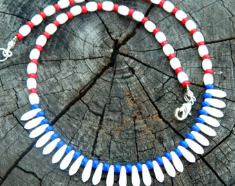 red white and blue choker necklace holiday patriotic jewelry 4th of july independence memorial day kids|gift|for|her|him american necklace