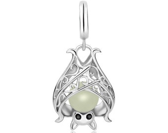 Genuine 925 Sterling Silver Glow in the Dark Bat with Bead Charm, For Pandora Bracelet, Pendant, Jewelry, Charity Donation