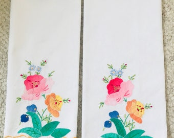 Two VINTAGE TEA TOWELS with Beautiful Hand Sewn Flowers