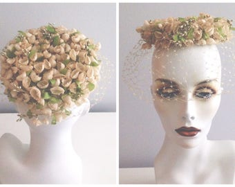 Vintage Wedding Pillbox Hat / Soft Colored Handmade Floral Hat / Garden Party Fashion Event Hat / Fill in the Divots / Netting Detailing