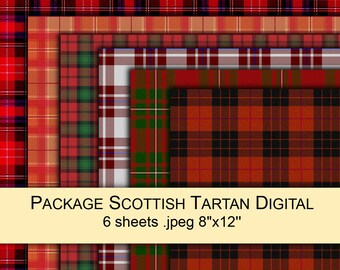 Tartan plaid Scottish RED (+green black white) fabric digital paper PACK x6 for scrapbooking / gift wrap printable instant download