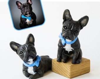 Set of 2 Custom dog figurines made in polymer clay -French Bulldog, Frenchie - miniature figurine of your Dog by Vell Vett