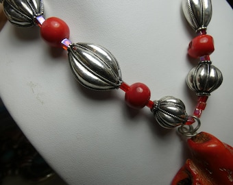 Sterling Silver-hand made beads- Lrge Red Coral drop -2-1/4X1-1/2 - 4 oz total-2345