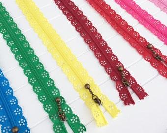 Lace Zipper, 12 Available Colors, 40 CM Zipper - 16 Inch Zipper - Long Scallop Zippers - Closed End Zipper- Brass Metal Zipper Sewing Notion