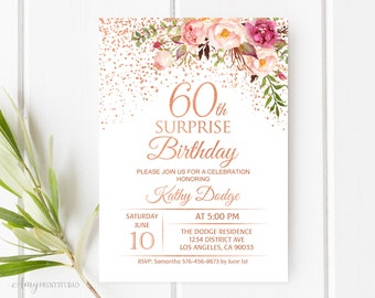 60th birthday invite etsy 60th surprise birthday invitation floral women birthday invitation birthday invite rose gold filmwisefo