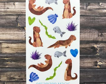 otter kid's stickers, animal stickers, stocking stuffers, party favors,