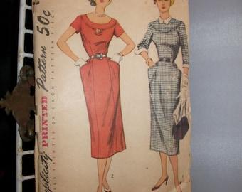 Vintage 1950s Side Pocket Dress Simplicity Pattern