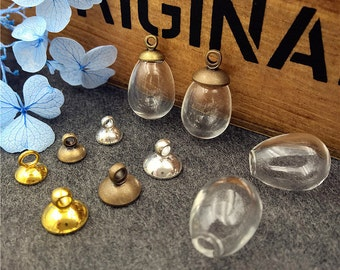 4sets (2pairs) 14.5*11mm water drop empty glass ball glass vial pendant necklace pendant charms Glass dome cover 6 design choose