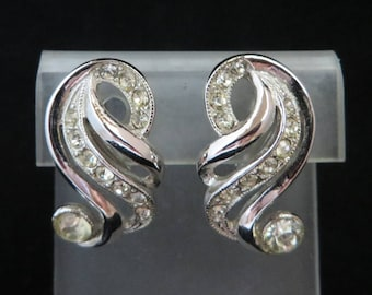 Signed ORA Earrings - Vintage Rhinestone Curved Clip on Earrings, Bridal Jewelry