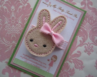 Girl hair clips - Easter hair clips - girl barrettes - bunny barrettes
