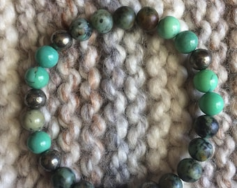 African Turquoise, Chrysoprase and Iron Pyrite Beaded Stretch Bracelet