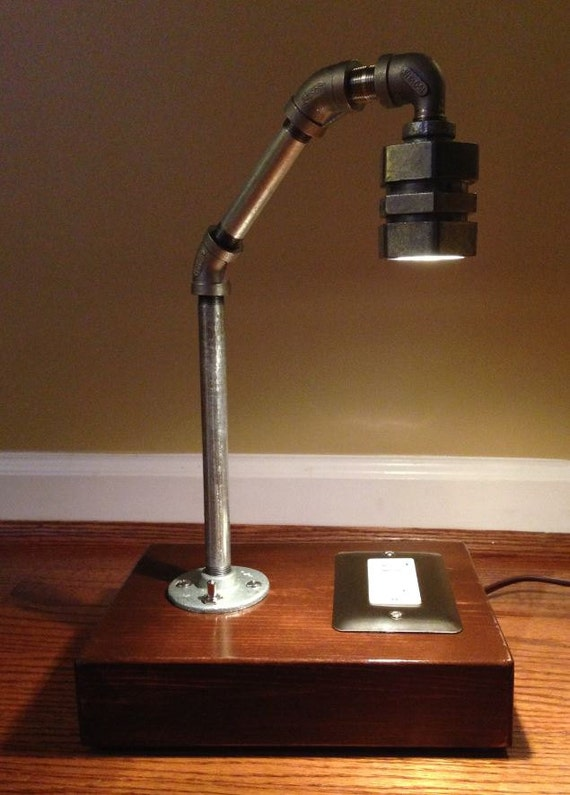 Industrial Rustic Pipe Lamp With USB And Electrical Outlet