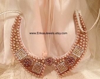 Bib Collar Necklace - Golden Pearls - Unique one-of-a-kind