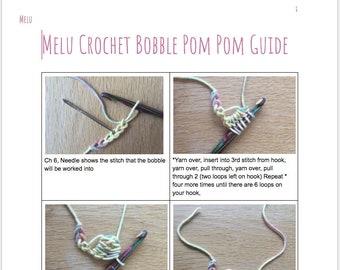 Bobble Pom Pom guide PDF by MeluCrochet, help, how-to, step by step guide