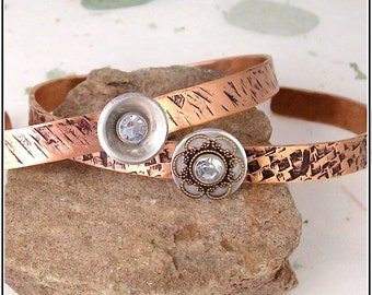 Decorated Copper Hand Textured Cuff Bracelets-Choice of Styles