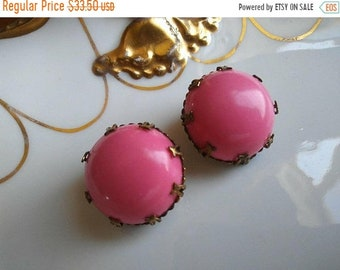 ON SALE Vintage Pink Button Earrings ** 1960's Retro Rockabilly Accessories ** Mad Men Mod Old Hollywood Glam Jewelry