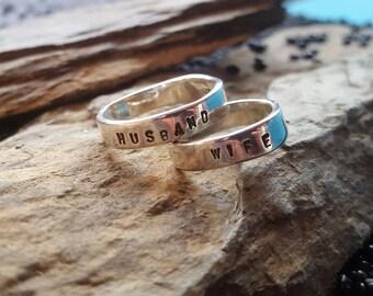 Wedding rings stamped