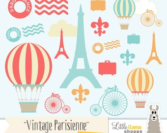 Paris Clip Art, France Clipart, Vintage Paris Illustrations, Hot Air Balloon Clipart, European ClipArt, Commercial Use