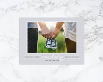 Printable Modern New Baby Pregnancy Photo Card Announcement