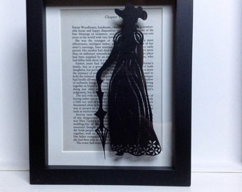 Emma Jane Austen - Framed papercutting. Paper crafts. Book lovers gift